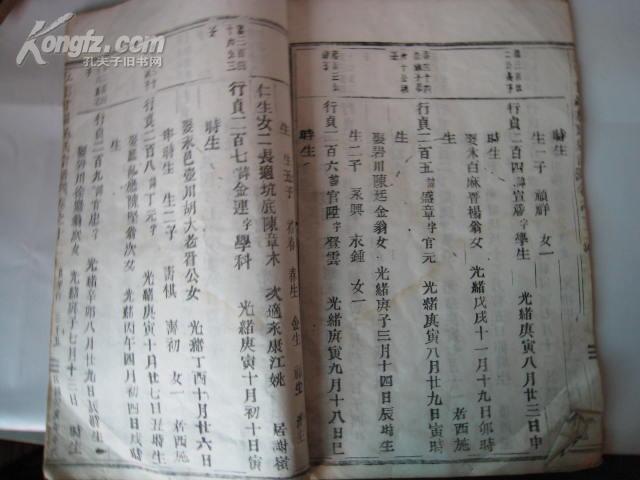 片 稀见花鱼尾宗谱 五云甘罗施氏宗谱 ,开本很大,木话字本,字也图片