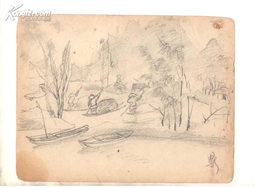 著名前辈画家钱鼎 《风景4》速写一幅 拍品编号:3208738