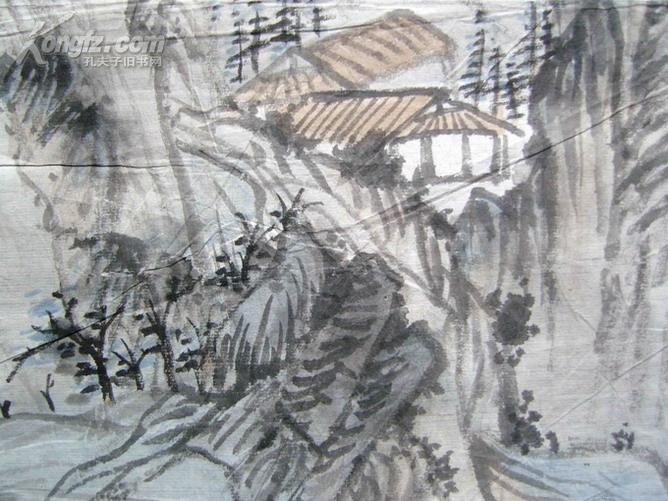 名人字画:(吴观岱弟子,近现代山水画名家)顾坤伯(1963年手绘)《清溪