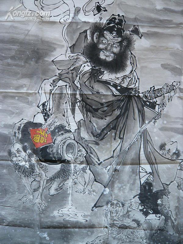 大图页-名家手绘人物水墨画 钟馗醉酒 人物表情神态如