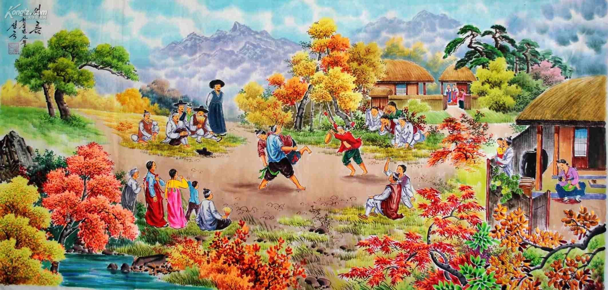 朝鲜民俗画 长140宽70cm 未裱 独特朝鲜民族韵味 可馈赠亲友,装点厅堂图片