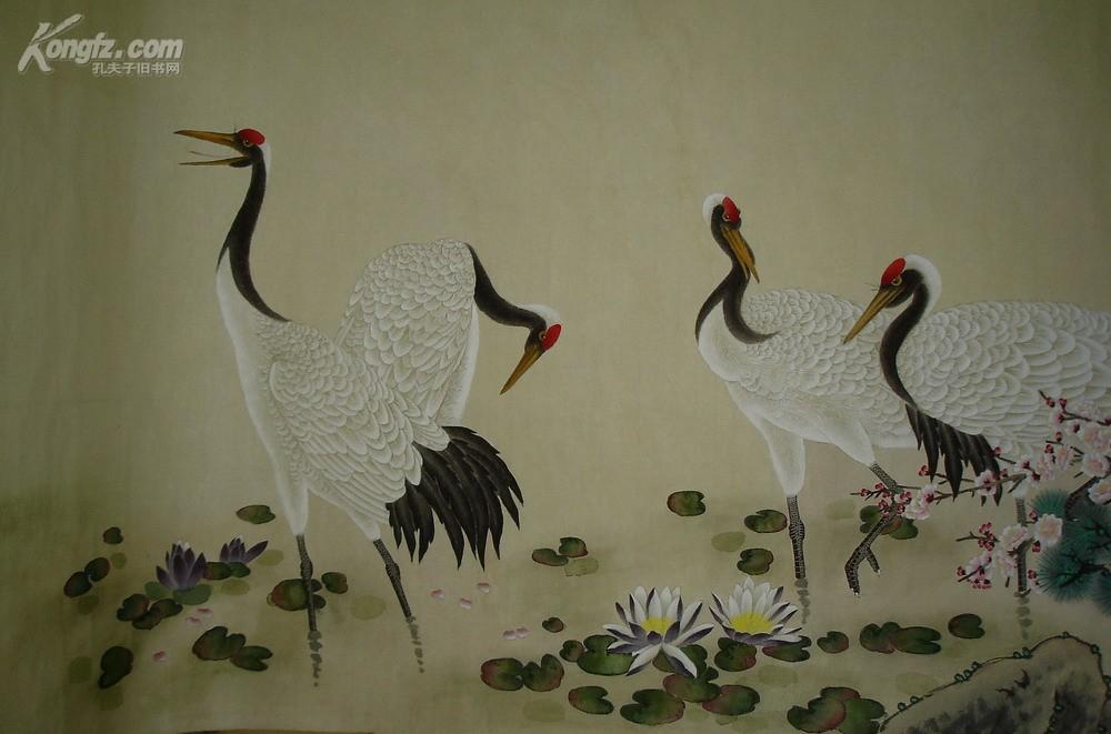 作品◆八尺巨幅 松鹤延年图◆著名花鸟画名家,陈之佛高徒◆横幅精品
