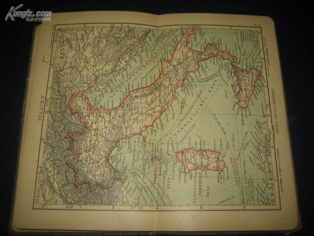 1909年.德国: 世界古地图集>.内有清代中国地图