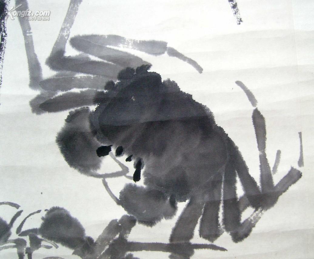 名人字画:(齐白石第一名弟子)李苦禅(1978年手绘大写意水墨画)《螃蟹