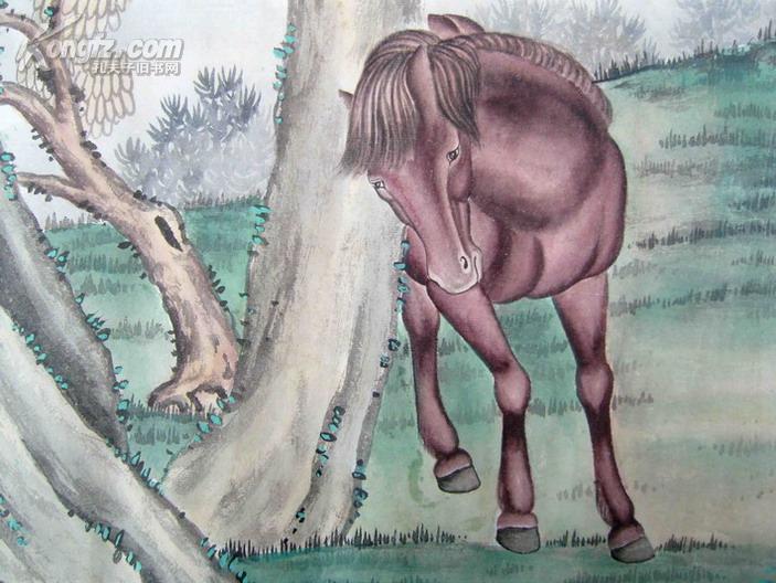 名人字画:(近现代工笔花鸟画大家,画马名家)马晋(1945年手绘)《八骏