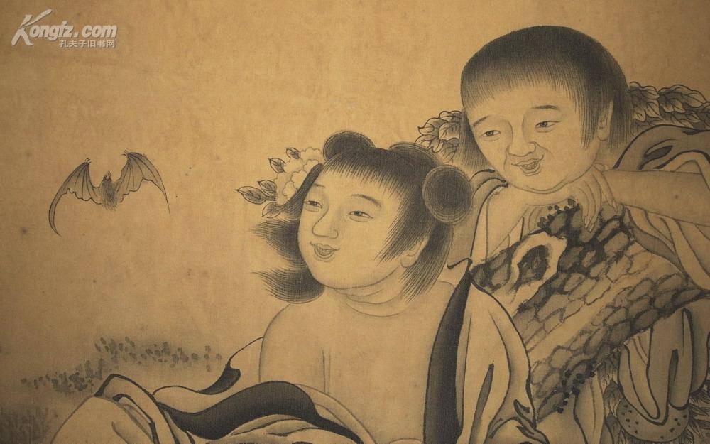 [名人墨迹拍卖品]清·王素·绢本《合和二仙图》