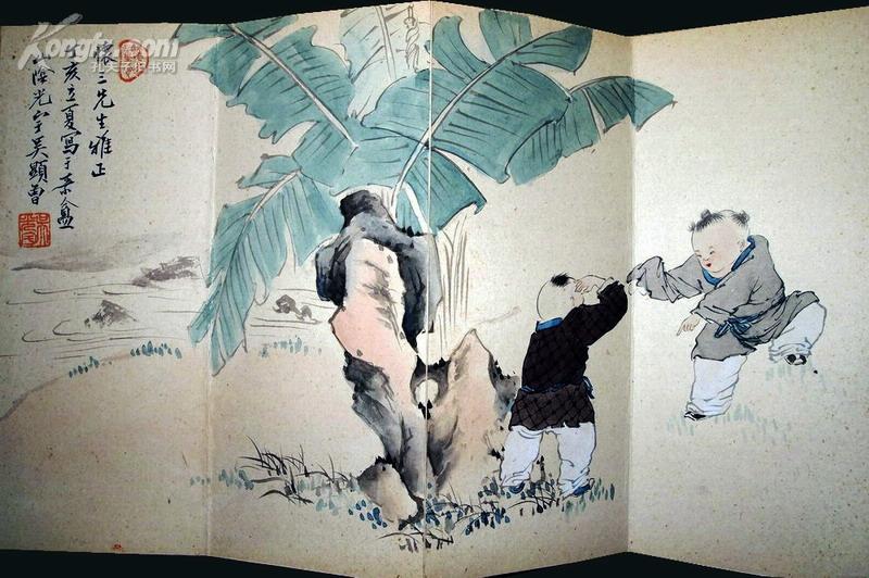 [名人墨迹拍卖品]大师·吴光宇·原装裱册页《婴戏图》