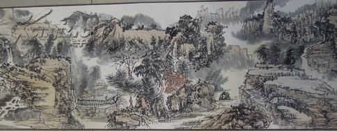 江西著名的山水画家,傅抱石之师】黄秋园先生《山水》长卷尺寸34*302