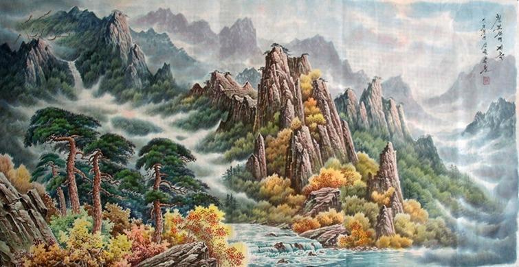 【朝鲜山水画】 朝鲜山水画一张 具有朝鲜民族独特风格的绘画艺术图片