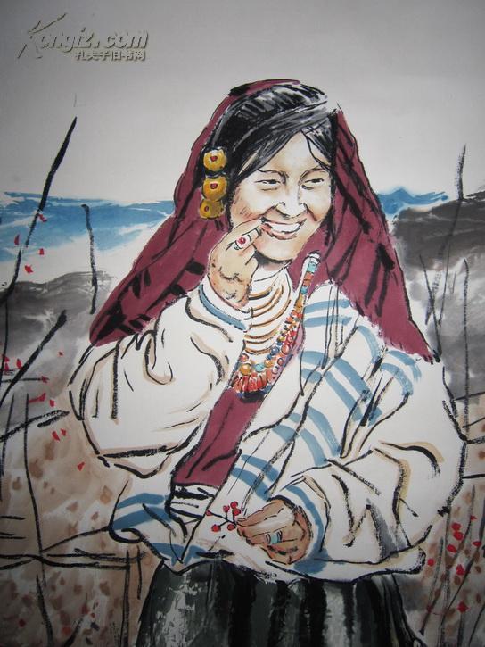 中国美协副主席 天津美院教授 当代著名画家 何家英 藏族人物立轴
