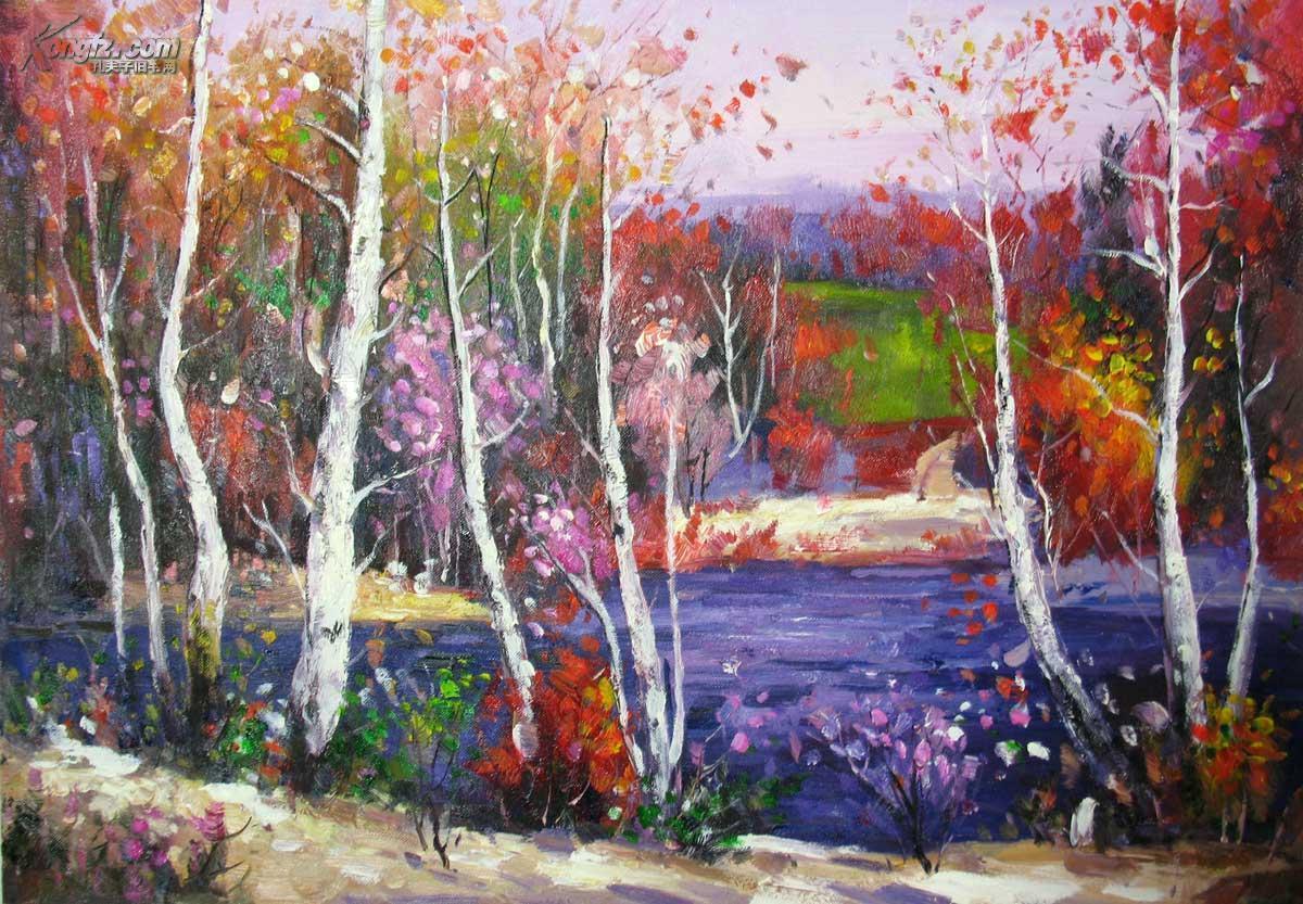 原创秋天风景 手绘精品50×60厘米 拍品编号:9321878