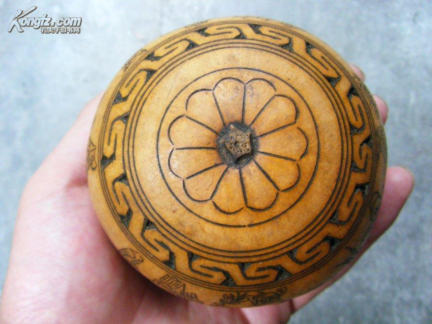 一个老葫芦,手工雕刻,线描,八仙过海各显神通,十分精美,精美艺术!