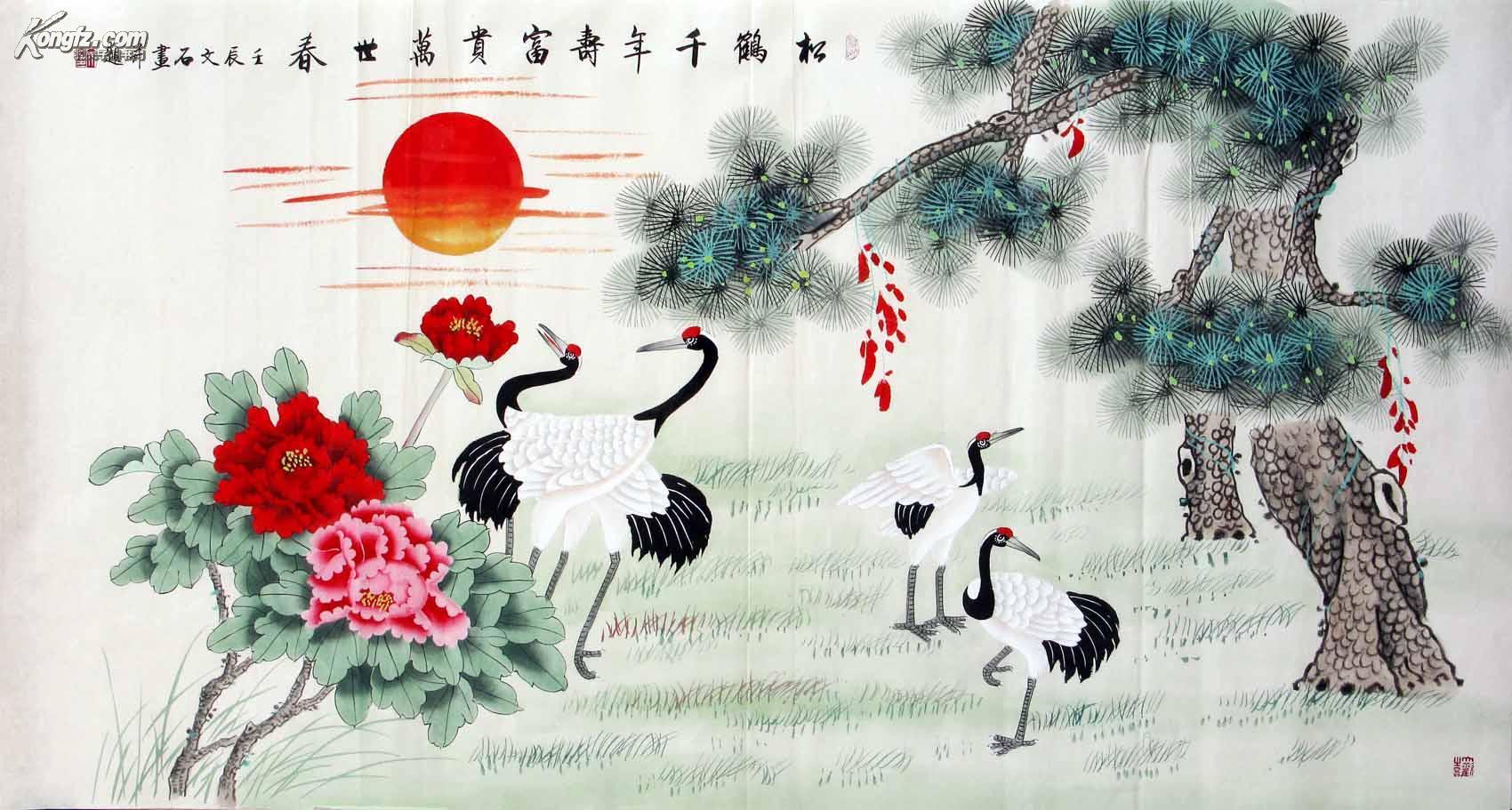 王文石六尺工笔松鹤牡丹图 物美价廉◆◆◆103