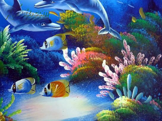 【图】布上油画 海底动物_网上拍卖信息_孔夫子拍卖网
