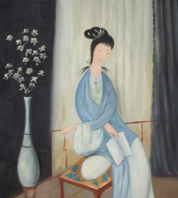 美术教育家【林风眠】人物油画《仕女图》图片