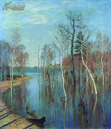 名画 油画 俄罗斯 风景油画大师 列维坦《春潮》 拍品编号:13057503