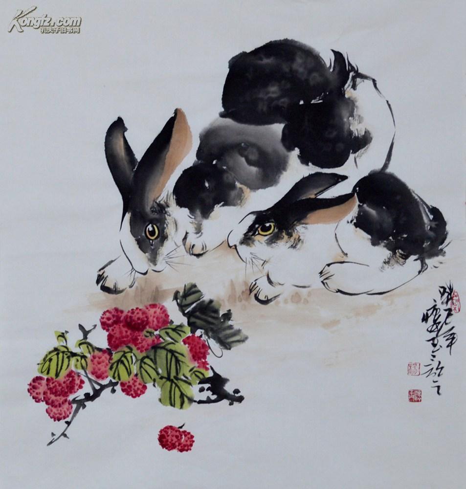 三尺斗方写意国画动物画兔