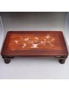 花梨木精品浮雕镶贝壳茶几收藏