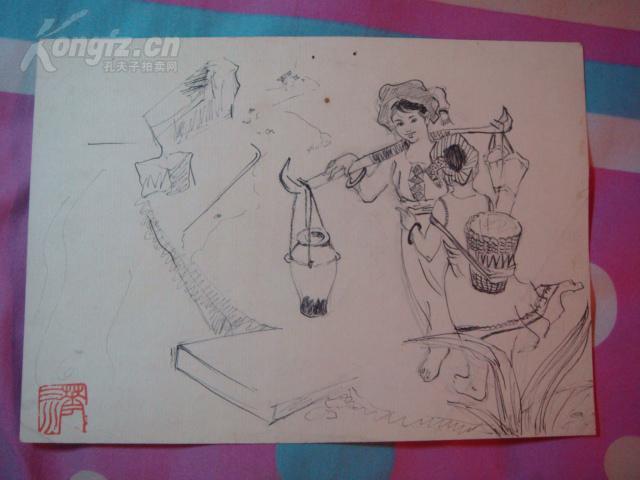 【图】钢笔画连环画画稿【少数民族长发】有图片少女卡通女生图片