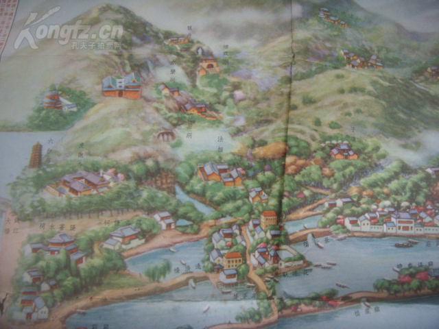 【图】2开彩绘杭州西湖地图《最新西湖风景全