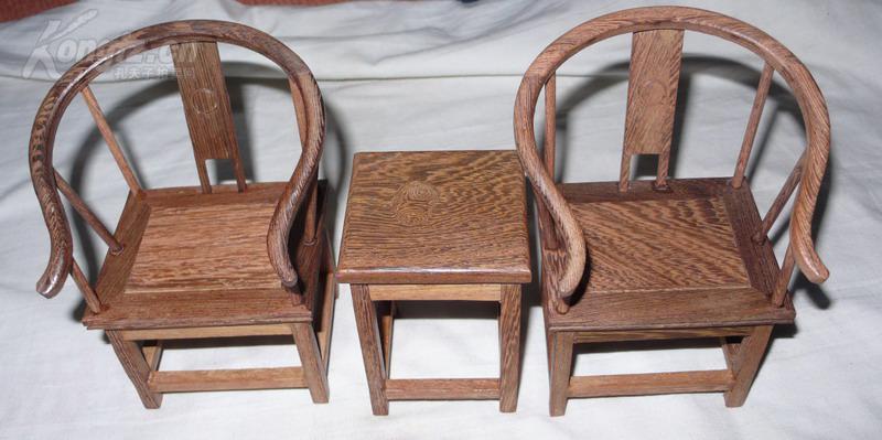 【图】鸡翅木明清家具图纸微缩家具3件套简圈椅v图纸雪橇图片