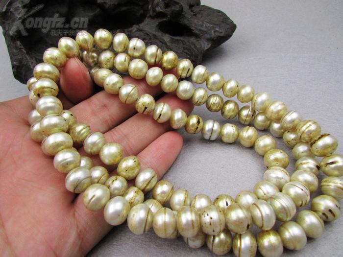 珍珠包浆_原味包浆的明清颗颗包老尺寸大老珍珠12颗全
