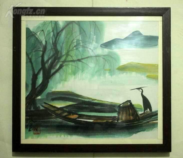 国画大师,林风眠,风景老画,实木镜框,有43 1967字样的标签.