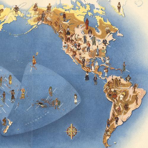 世界人种手绘地图(复制) 拍品编号:21034920