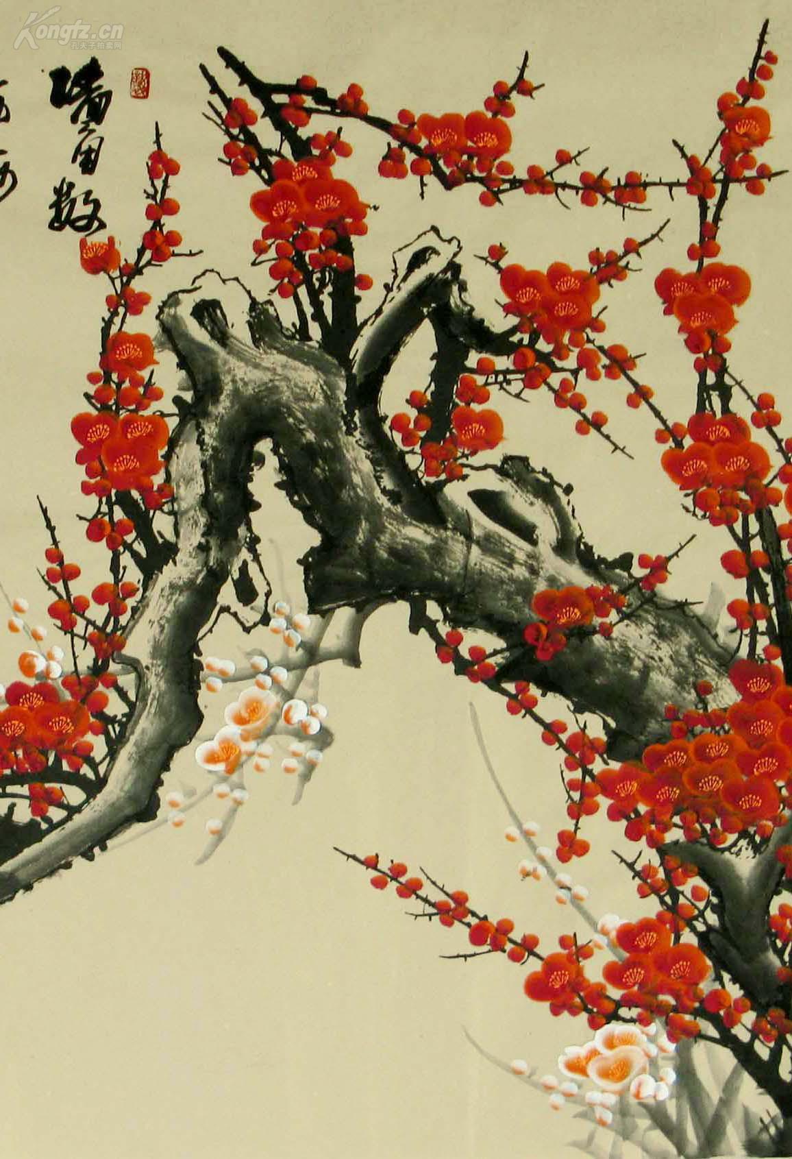 西门亚石国画大六尺梅花《墙角数枝梅,凌寒独自开.图片