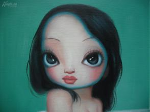 布面美女油画洗浴的大眼裸体背影31X26厘米侧美女正在图片