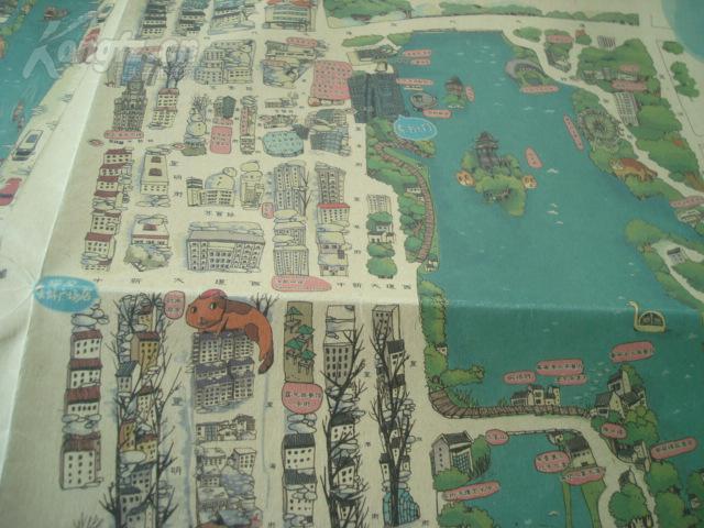 老旅游地图------- 苏州超大 地 图 手绘版 超大彩画 带封