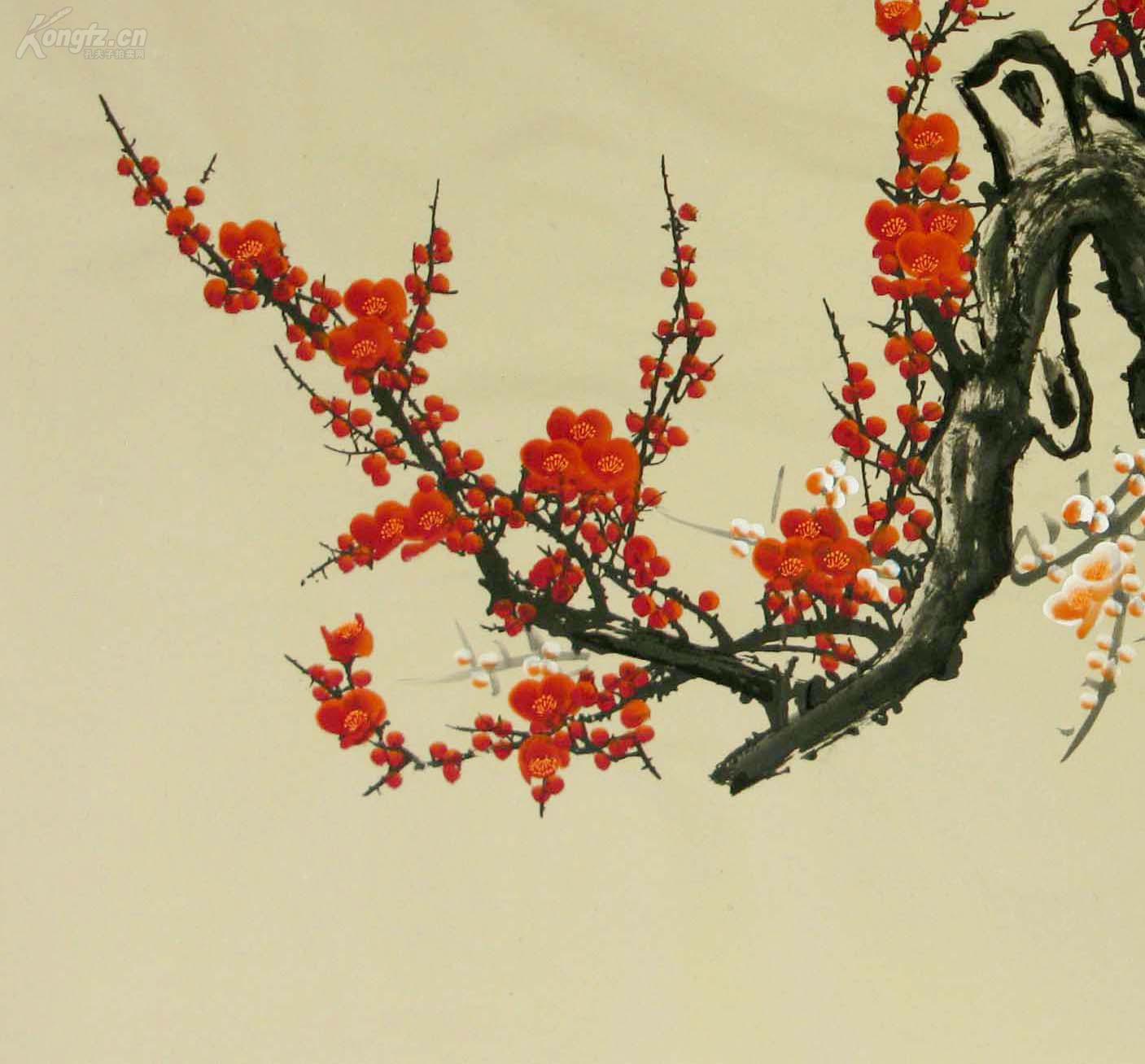 西门亚石国画六尺梅花《墙角数枝梅,凌寒独自开.图片