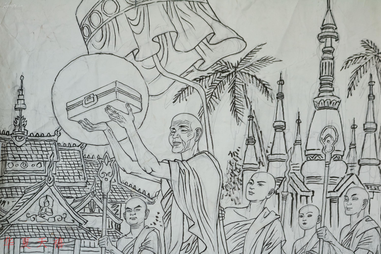 著名画家 罗希贤线描画稿 正反面各一幅(约2.2平尺,未落款)hxtx16844