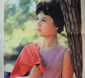 1985年披肩发型美女依树长脖子烫发年历的发生头下的年画图片