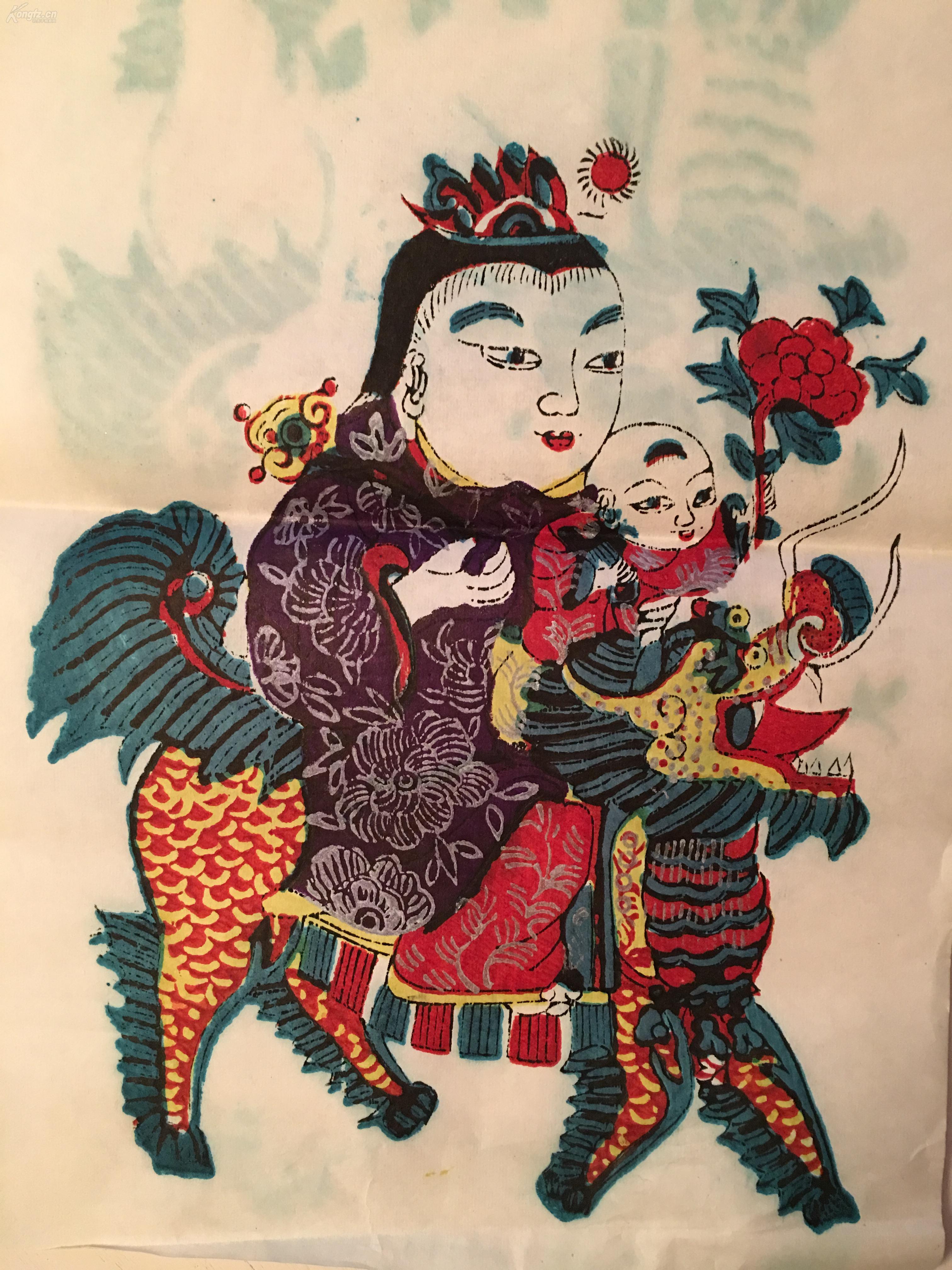 江蘇南通木版手工套色刷印年畫版畫——麒麟送子 拍品編號:30279136