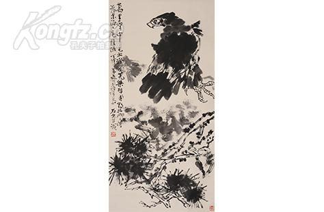 著名书画家,戏曲家,国家一级美术师 郭石夫《鹰》景海上款1987年 135图片