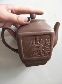六七十年代紫砂茶壺,嘴有修,包老