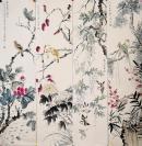 中国美术家协会理事,上海中国画院副院长【唐云】 花鸟四条屏