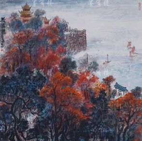 曾任上海人民美术出版社副编审 吴光华 1977年水墨山水画作《岳阳楼》