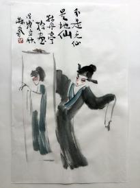 【戲曲人物水墨畫】--牡丹亭拾畫      林泉書畫真跡