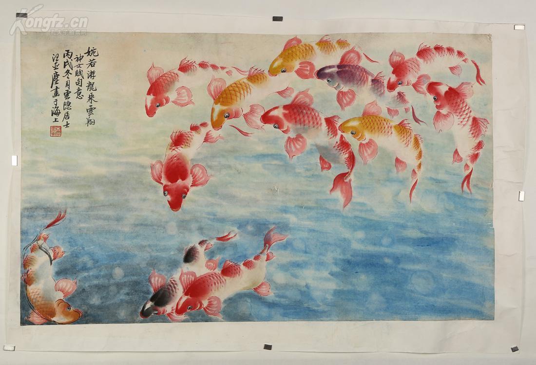 汪亚尘,擅长西画及国画,尤以画金鱼著称,非常精,《鱼乐图》,玲珑悠然图片