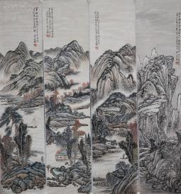 《汪琨》近代海派画坛的山水画以四王一 山水 四条屏