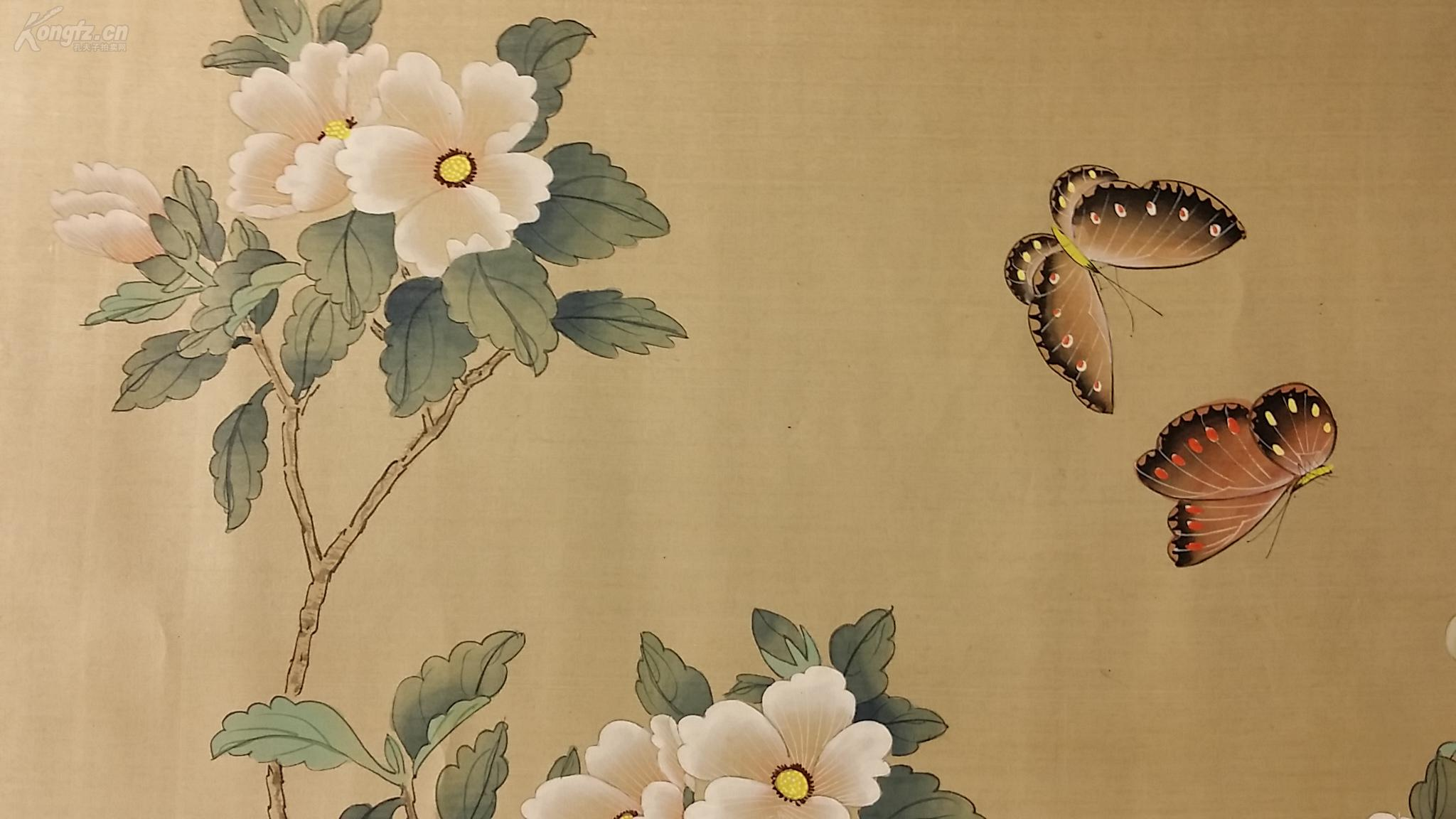 22117 (转店铺) 回流的绢本名家(吴竹云款)手绘工笔蝴蝶花卉 拍品编号