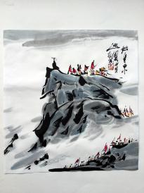 林泉書畫--始皇東巡圖     水墨真跡