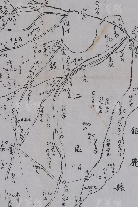 《隆平县图》地图一张(地图详细标注了县城,省界,区界,村庄,河流,沙地