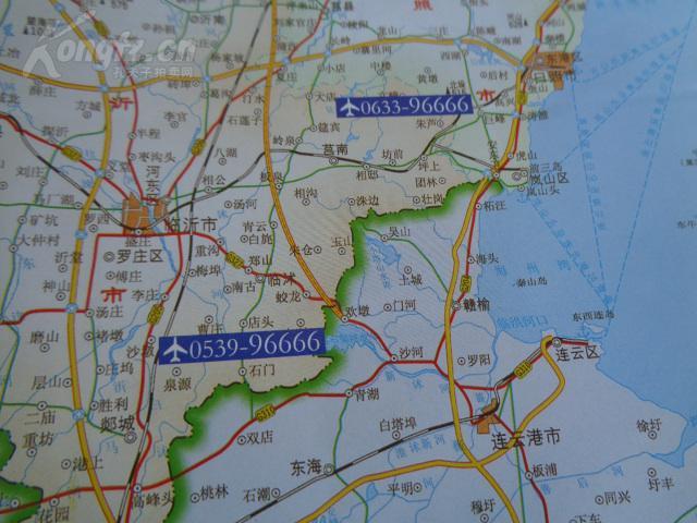 老旅游地图---2008 山东飞机场分布地图 流亭机