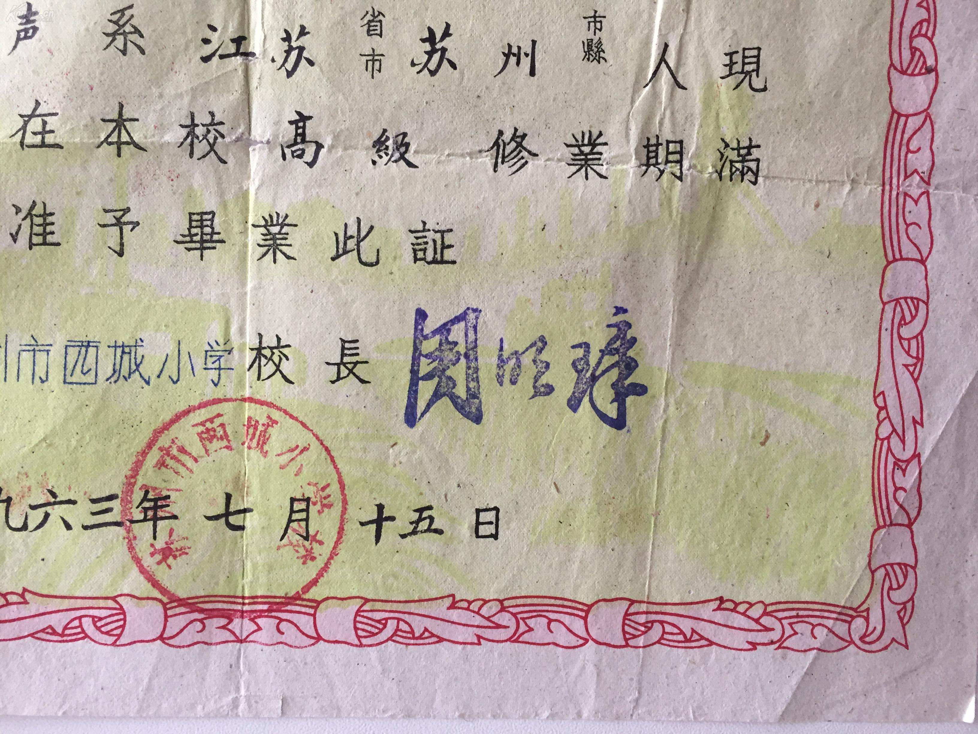 1963年《苏州市西城证书贴有小学》毕业学生年级自我一小学评语图片