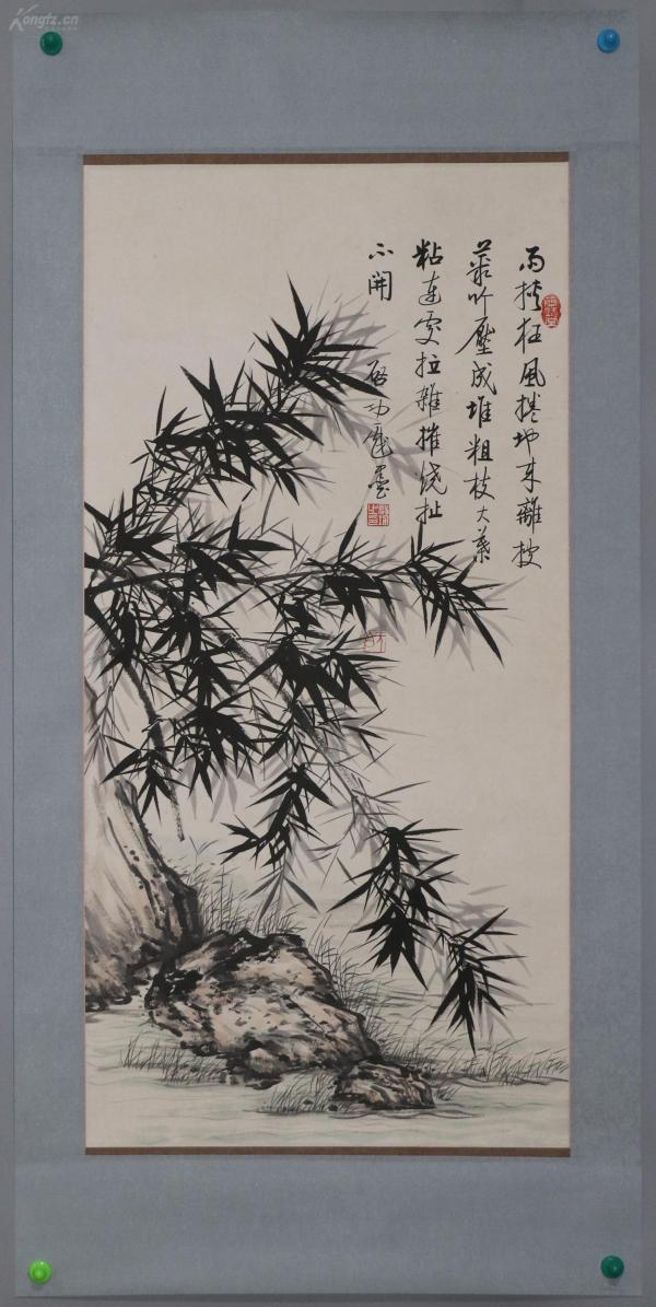西泠印社社长 【启功】花卉精品手绘手裱