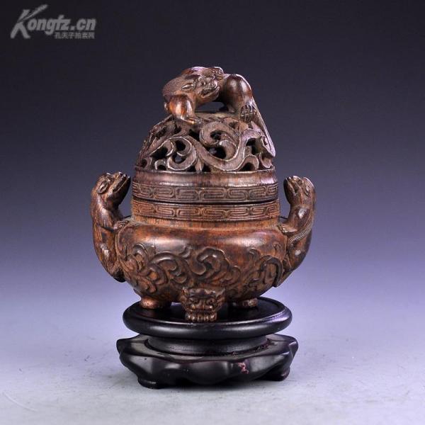 清 老竹雕螭龙图香薰炉包浆浓郁