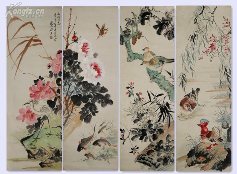 中国美术家协会理事,中国美术家协会上海分会副主席,上海中国画院副院长、代院长、名誉院长       唐云     花鸟四条屏
